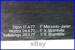 AFFICHE ANCIENNE ORIGINALE ALFA ROMEO TYPO 33 SC12 car auto 1977 World Champion