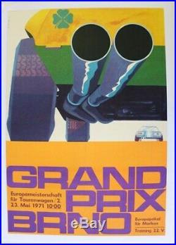 AFFICHE ORIGINALE GRAND PRIX BRNO 1971 ALFA ROMEO trèfle 4 feuilles Rép. Tchéque