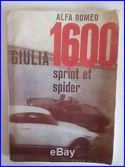 ALFA ROMEO Giulia 1600 manuel conduite et entretien original en français