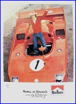 Affiche Originale Alfa Romeo Typo 33 Tt 12 Andrea De Adamich Marlboro Mcs 1975