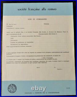 Alfa Romeo original 1960s bill of orders bons de commande originaux années 60