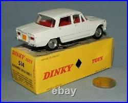 Dinky Toys France Originale 1/43 réf 514 Alfa Romeo Giulia 1600 Ti (Blanche)