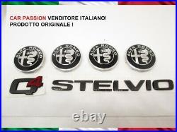 Écrit Logo Armoirie Coffre Alfa Romeo Stelvio Q4 Enjoliveur Noirs Roues Original