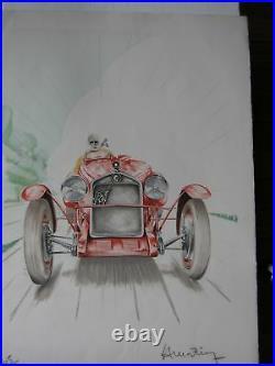 LITHOGRAPHIE signée thème automobile ALFA ROMEO 1931